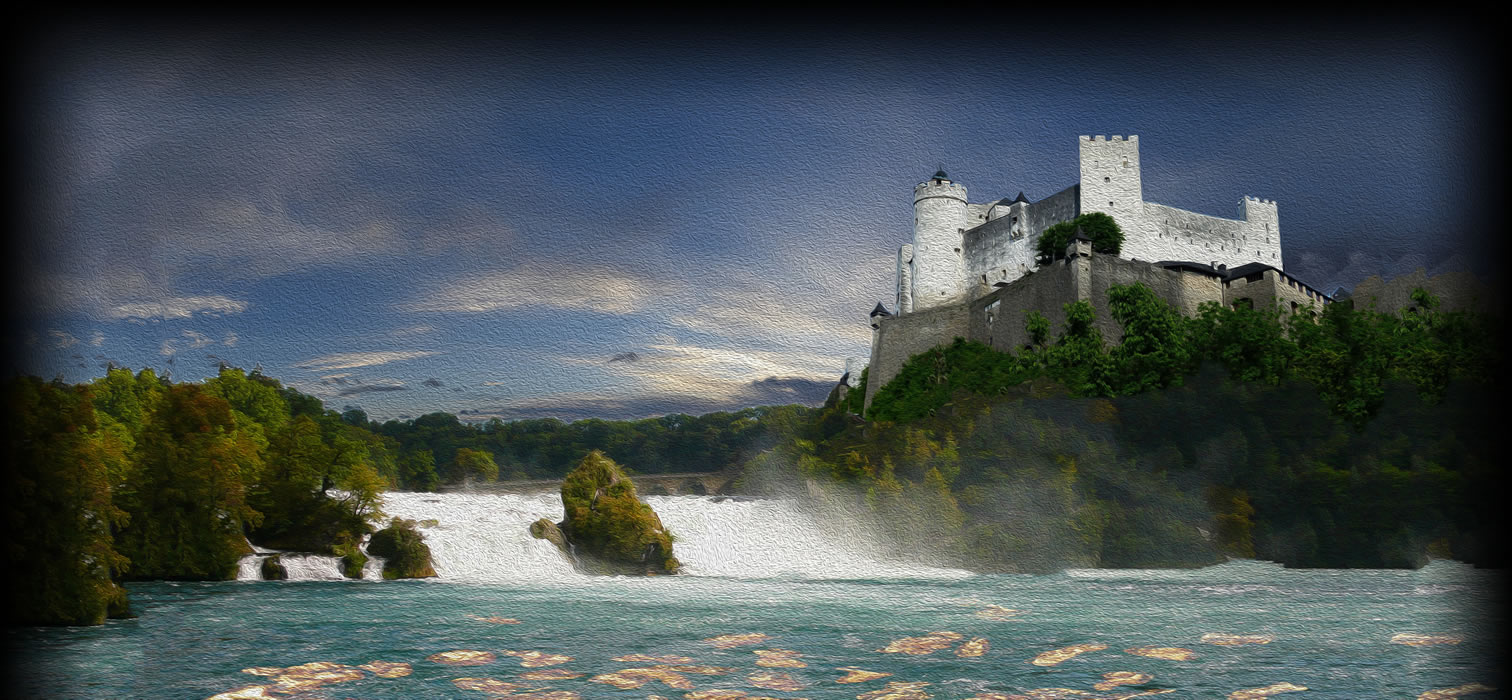 Rhine with castle, waterfall, submerged gold